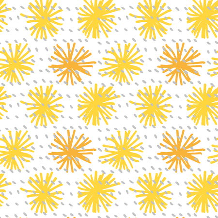 Yellow color abstract flower seamless pattern vector illustration Illustration