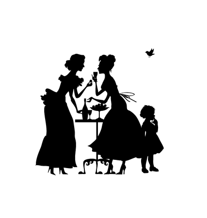two woman and girl silhouette. vector illustration of elegant party.