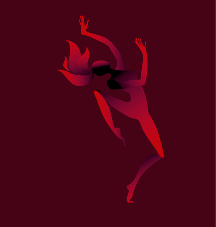 Girl dancing silhouette. vector illustration Illustration