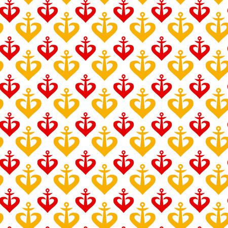 heavy heart: concept anchor seamless pattern, vector illustration