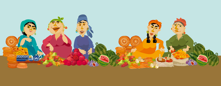 caricature woman sellers in food market, vector illustration Illustration