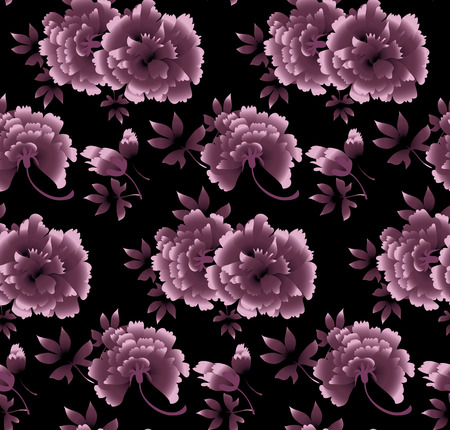 Modello di peonia floreale su sfondo nero. Illustrazione vettoriale fiore di lusso Vettoriali