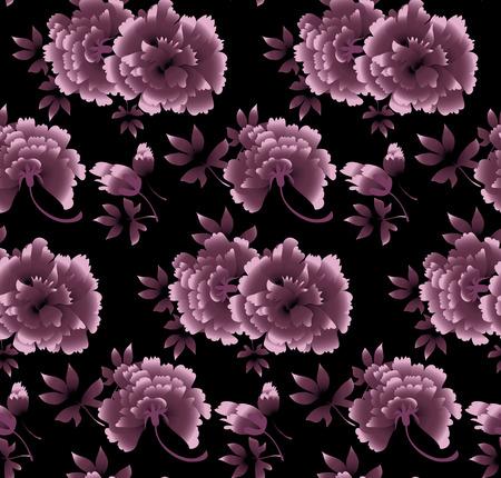 peony floral pattern on black background. luxury flower vector illustration Ilustração Vetorial