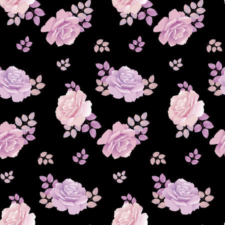 pale colors: rose floral pattern on black background. pale color rose vector illustration