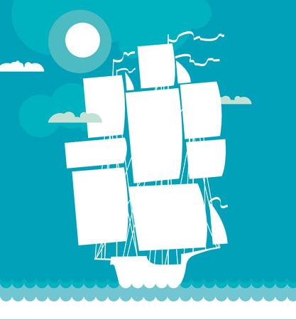 schip decoratieve vectorillustratie Stock Illustratie