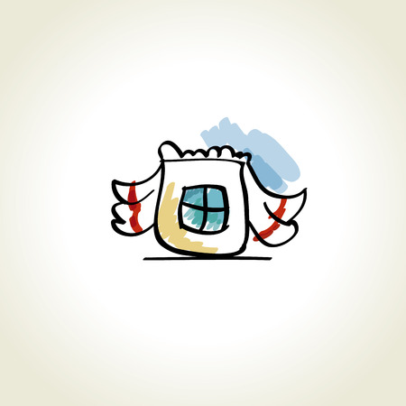 simple window icon with rural curtains. vector illustration
