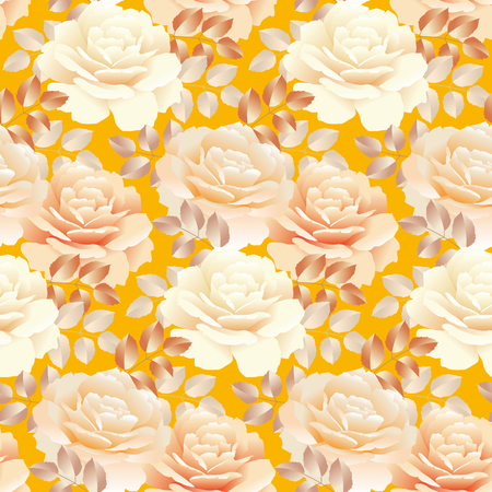 seamless pattern of pearl color yellow rose. repitable swatch vector illustration
