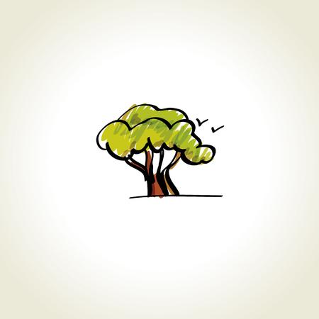 single oak tree vector icon illustration