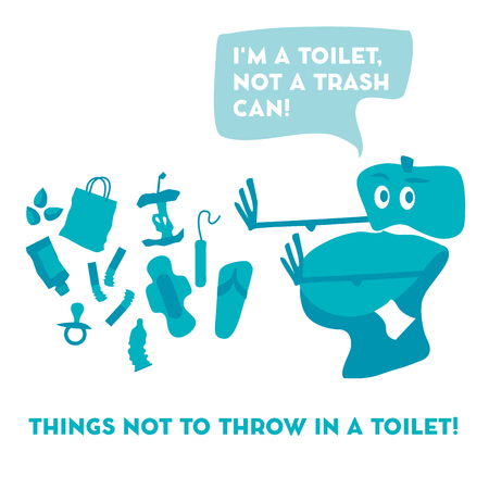 toilet pan and garbage vector illustration