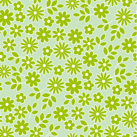 green meadow flowers seamless pattern. vector illustrstion of deisy floral swatch