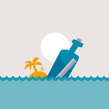 vector illustration of message bottle in the sea Illustration