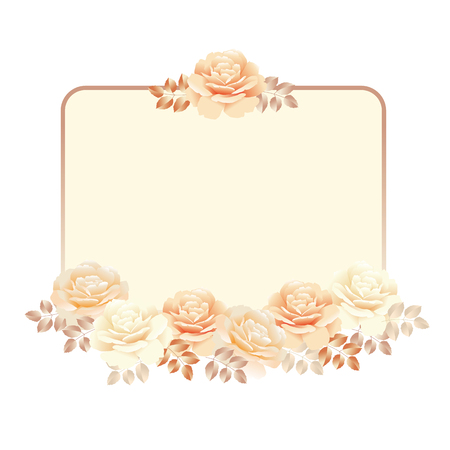 air filter: floral frame for invitation template. pearl color yellow rose vector illustration