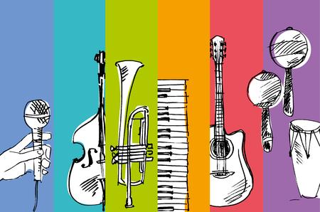 Bosquejo simple dibujado mano del vector de la ilustración de la música Foto de archivo - 81566623