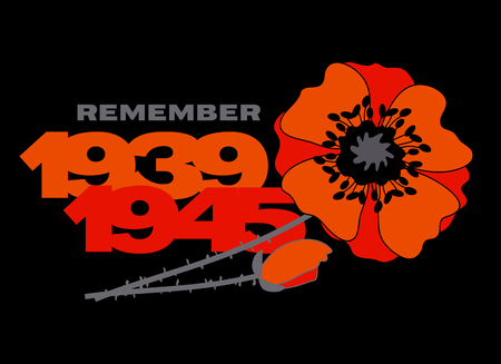 Remember second world war concept postcard with red flower and years numbers
