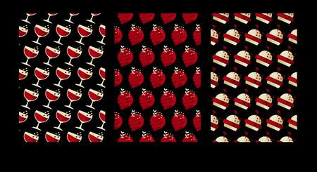 ジオメトリ カフェ パターン。高級食品のポスター セットです。黒の背景のベクトル図