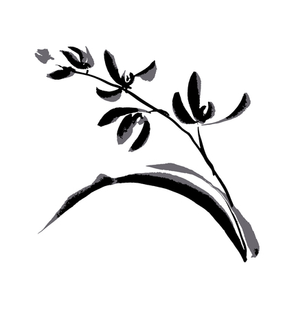 Japan style hand drawn floral element. vector black and white illustration of orchard flower Banco de Imagens - 81564694