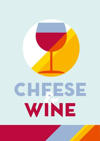 wine glass and cheese poster vector illustration