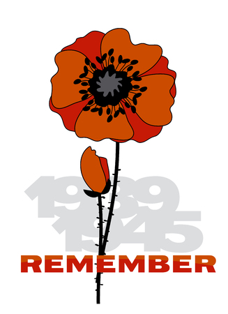 Remember second world war illustration with red flower and years numbers
