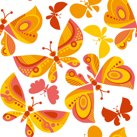 A bright butterfly flying illustration. vector seamless pattern.
