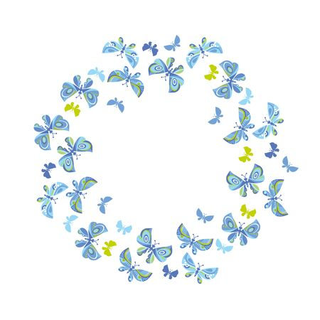pale colors: A blue butterfly flying vector illustration. Illustration