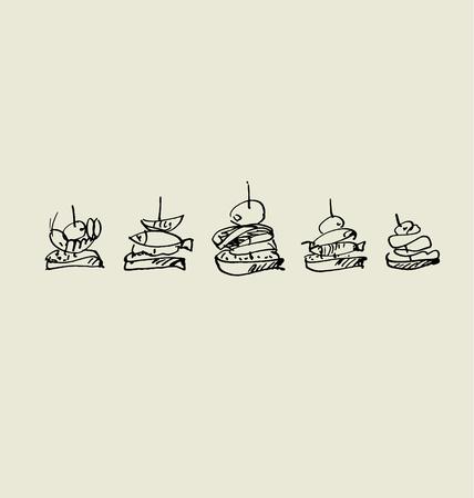 画像セットのタパスとカナッペ。食品手描きスケッチ ベクトル illus