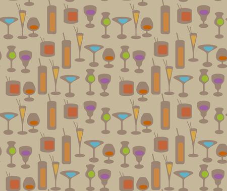 BARWARE: cocktail repeating pattern vector illustration