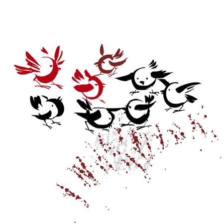 ink drawn handmade birds vector illustration Illustration