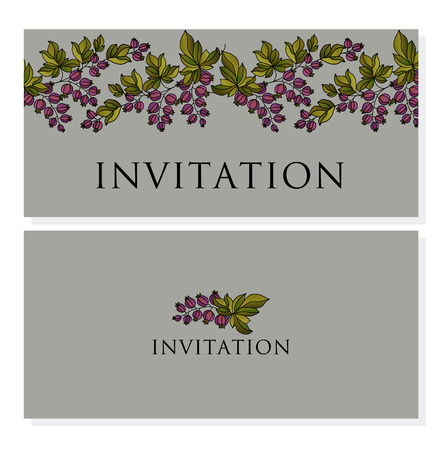 A decorative black currant vector invitation. boho-atyle summer berry illustration.