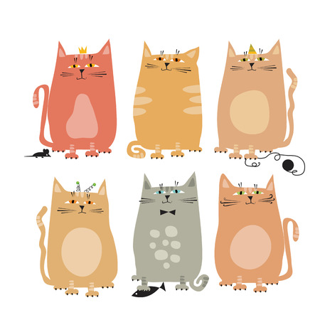 A cute style set of funny cat vector illustration.