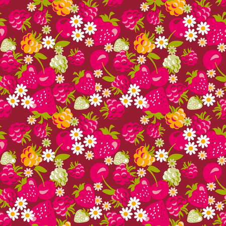 deep red seamless fabric sample of berries. vector illustration of berries pattern. Illustration