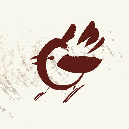Hand drawn cute bird vector illustration