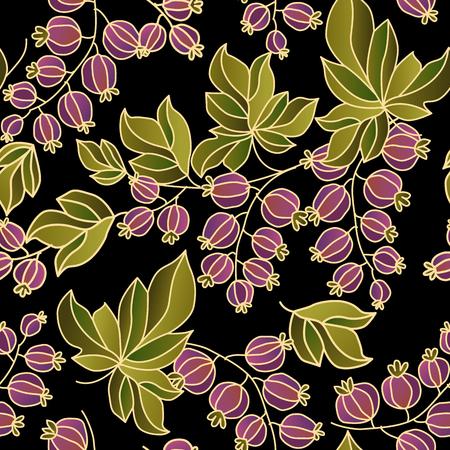 seamless decorative pattern of berries vector illustration. boho-style summer berry illustration