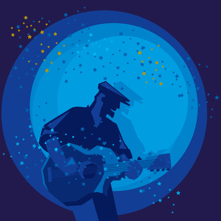 music poster template with man playing guitar