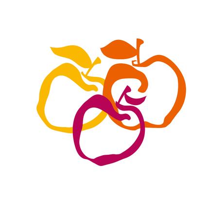 apple fruit simple decorative symbol. vector illustration Illustration