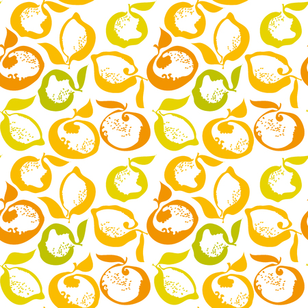citrus fruit lemon and orange decorative pattern. vector illustration