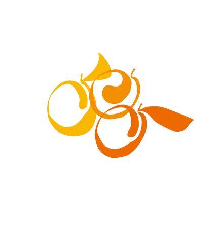 apricot fruit simple decorative symbol. vector illustration