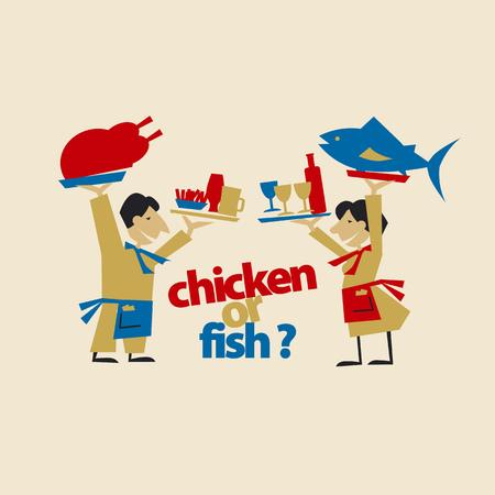 café-obers houden vlees en vis. eenvoudige platte kop. vectorillustratie op ambachtelijke kleur achtergrond
