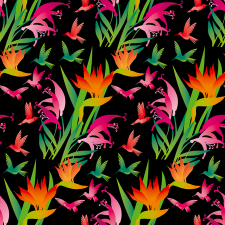 tropical exotic decorative flowers and birds on black background. vector illustration.
