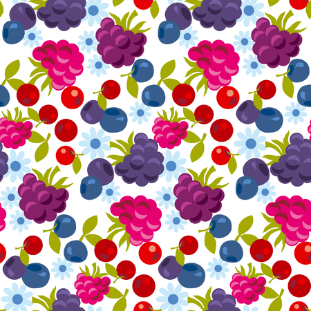 assorted forest berry seamless pattern. vector illustration. Illustration