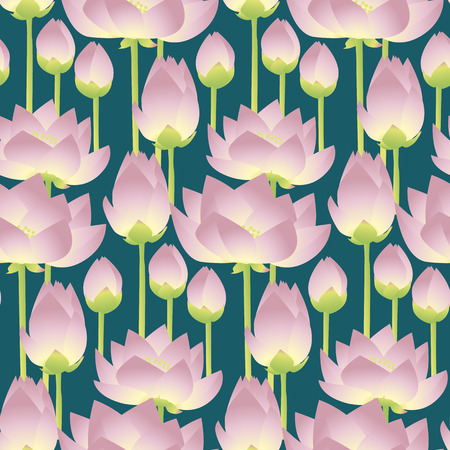 pink lotus lilies decorative floral seamless pattern. vector illustration