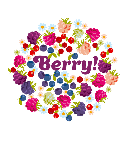 assorted forest berry set. vector illustration.