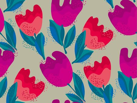 roy: stylish tulip flower seamless pattern on gray background. vector illustration.