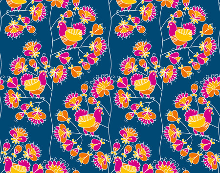 peasant style blossom tree and pigeon in love on deep dark blue background. vector illustration. seamless, pattern. Illustration