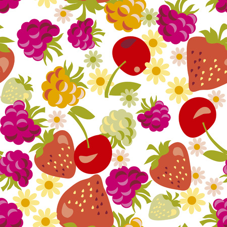 assorted berry seamless pattern. vector illustration.