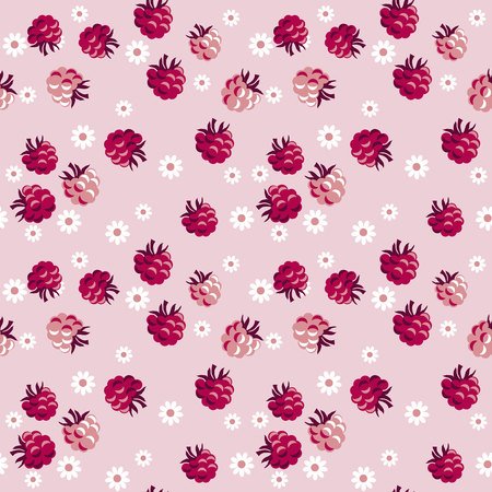 red berry on pale rosy background  seamless pattern. vector illustration. Illustration