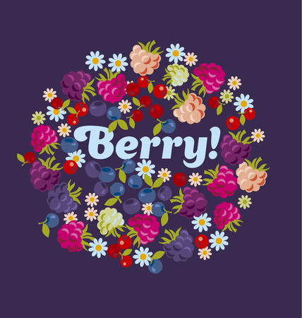 assorted forest berry set. vector illustration.
