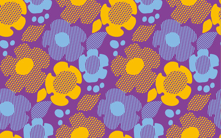 60th: abstract summer floral seamless pattern on violet background. vector illustration Illustration