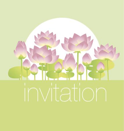 lotus lilies decorative floral invitation card template. vector illustration Illustration