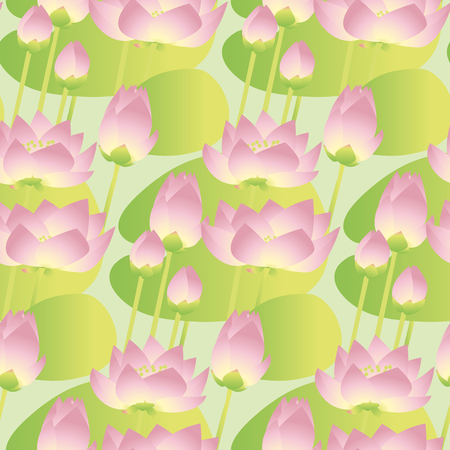 sacral: A pink lotus lilies decorative floral seamless pattern. vector illustration. Illustration