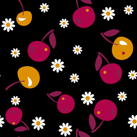 A cherry seamless pattern on black background. vector illustration.